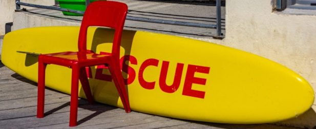 """Image of a bouy with the word """"rescue"""" on it"""